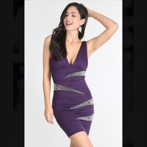 Slimming Dark Purple Embellished Smart Wrap Dress